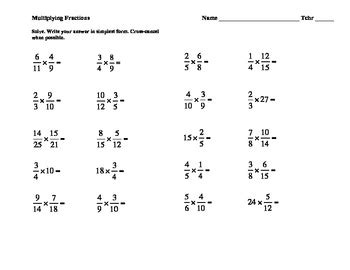 11 of multiplying fraction practice worksheets