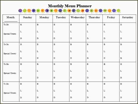 Meal Planner Template Word by 8 Monthly Meal Planner Template Sletemplatess