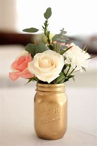Spray painted Mason jar for centerpieces maybe with baby's ...