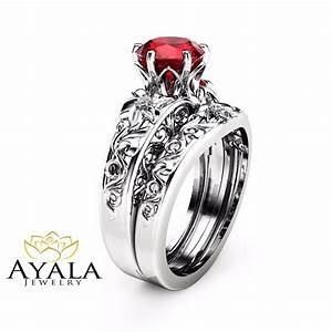 natural ruby engagement ring set unique 14k white gold With unique gemstone wedding rings