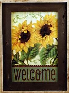 Sunflower Welcome Sign Framed In Brown Wash Reclaimed Wood