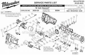 Milwaukee 2620-20 Parts List And Diagram