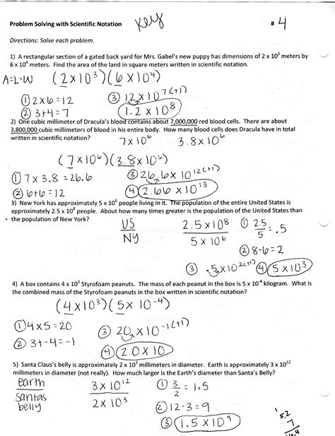 dividing scientific notation word problems worksheet