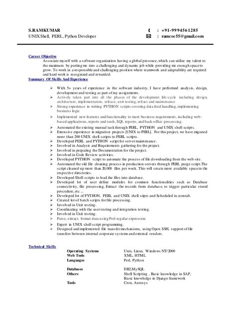 Unix Shell Scripting Resume by Ramkumar Python Perl Unix Shell Script Developer