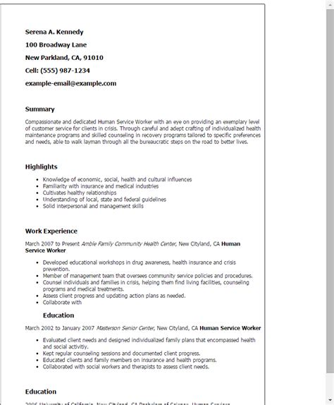 Human Services Resume Template 1 human service worker resume templates try them now