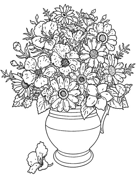 coloring page flower bouquet  coloring