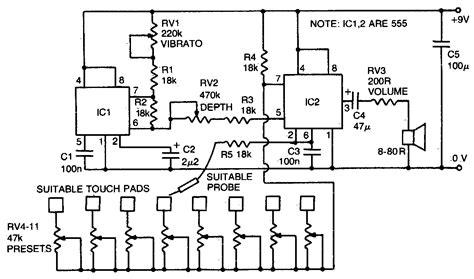 Stylus Organ Schematic Electronic Circuit