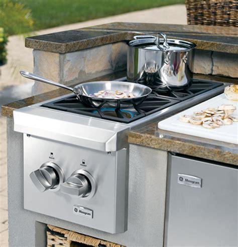 zgunpss monogram dual burner outdoor cooktop natural gas stainless steel