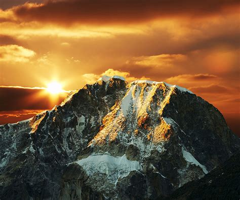 snowy rocky mountain summit  sunset chile wall mural