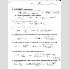 Molarity Dilution And Review Answer Key  Ida\l Name Hour Mol'arity Problems 31 1lml 2