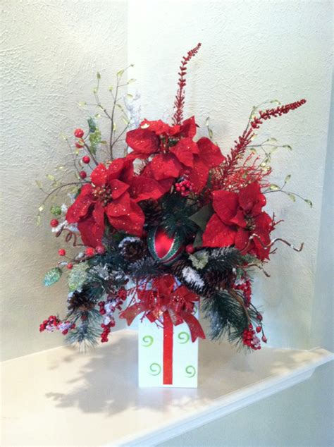 christmas silk floral arrangement present container design