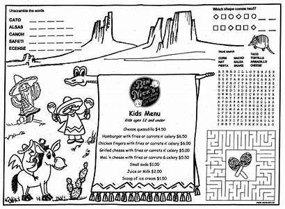Coloring Menus Children Restaurants Menu Placemats Kid