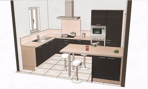 plan cuisine en u cuisine en u surface