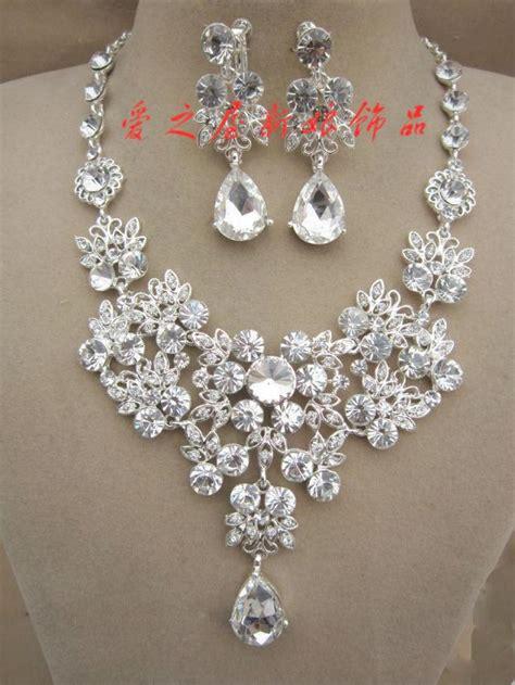 rhinestone necklace earring set bridal wedding party
