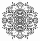 Mandala Coloring Mandalas Flower Cool Patterns Petals Vegetal Pages Adult sketch template