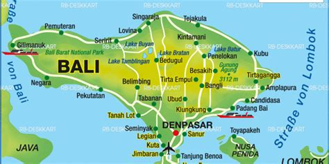 Map Of Bali (island In Indonesia)