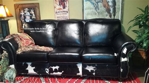 Silverado Leather Sofa In Bison Black And Cowhide Made In
