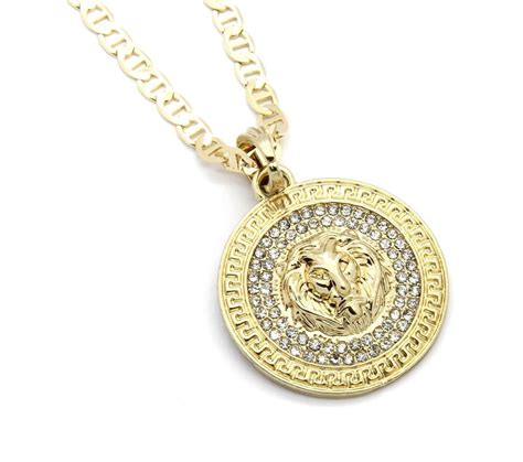 """Mens Medallion Patern Lion Gold Plated 24"""" Gucci Chain. Faith Bracelet. Blue Pearl Pendant. Chatham Sapphire. Birthstone Anklet Bracelet. Mahogany Rings. Shiny Engagement Rings. Gold Charms. White Leather Watches"""