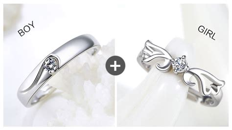 angel wing crown couple rings set  women  men