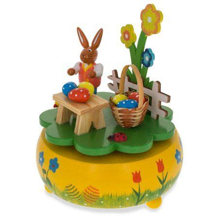 We offer various sizes and can create customized & personalized music boxes for you. BestPysanky Bunny Picnic with Easter Eggs Wooden Rotating ...