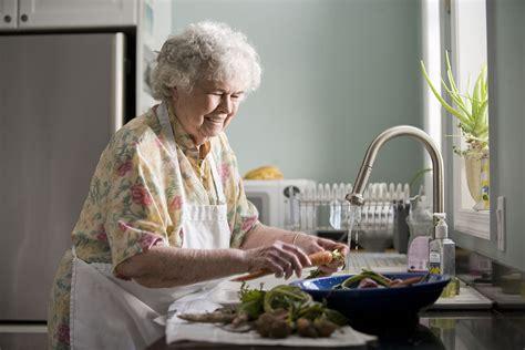 An Elderly Woman Washing