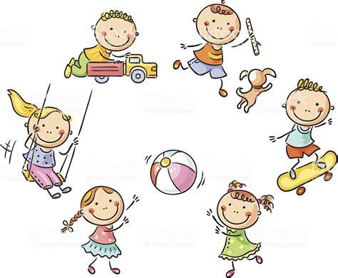 Spielendes Comic by Spielende Kinder Stock Vektor Und Mehr Bilder