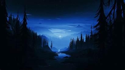 Dark Night Minimal Forest River Background Laptop