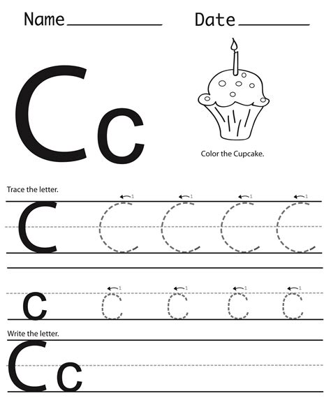 Trace The Letter C Worksheets  Printable Shelter