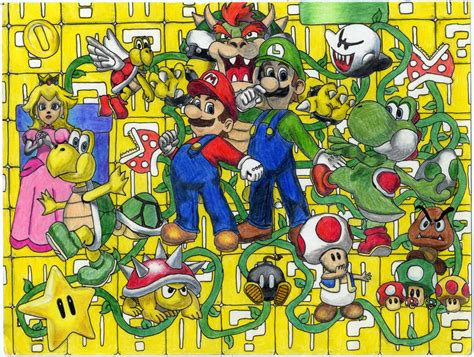 Super Mario Character Collage By Twags3 On Deviantart