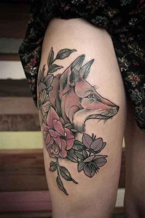 awesome fox  flowers tattoo  kirsten hollidayjpg