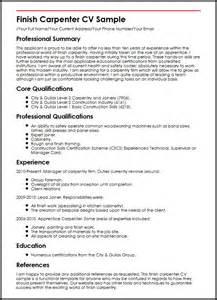 simple resume objective statement finish carpenter cv sle myperfectcv