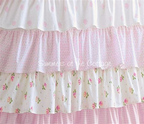 shabby chic ruffled curtains shabby cottage colors chic petticoat ruffle shower curtain