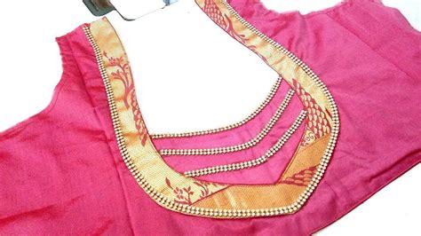 gold silk saree blouse design pongal golden border blouse