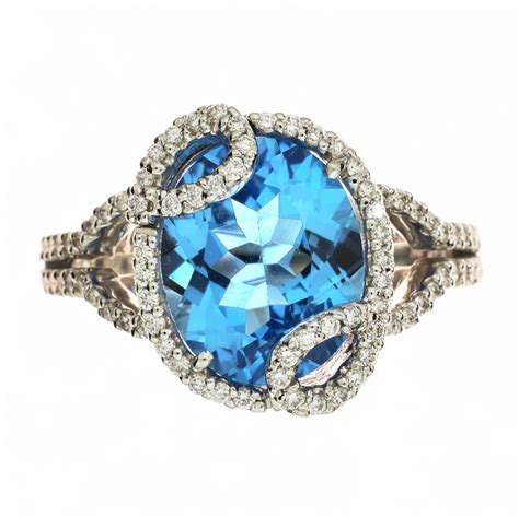 womens blue topaz diamond ring amore jewelry design  jewelry stores