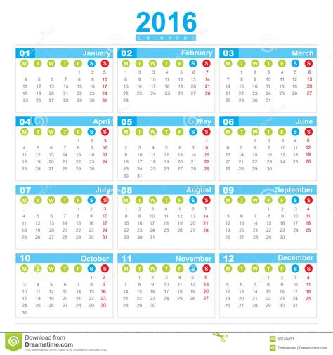 calendario numero de semanas calendar template