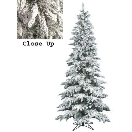 8 ft flocked slim christmas tree 9 snow flocked layered utica fir slim artificial tree unlit walmart