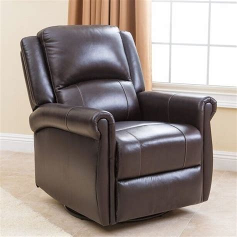 Leather Swivel Recliners by Brown Leather Swivel Glider Nursery Recliner Chair Arm