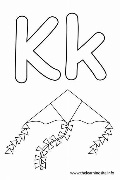 Letter Kite Outline Flashcard Alphabet Coloring Learning