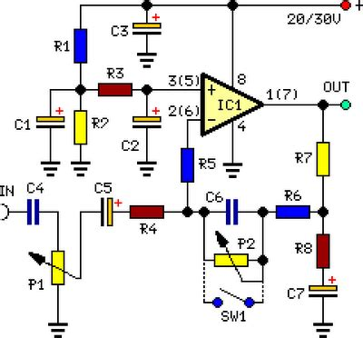 Stereo Preamplifier Circuit With Bass Boost Circuitszone