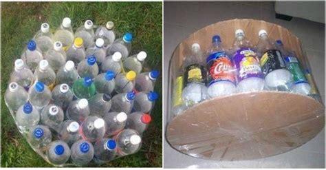 diy simple ottoman  plastic bottles