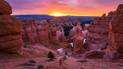 Canyon National Bryce Park Wallpapers Sunset Geology
