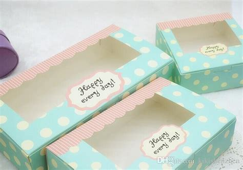 hot sell blue polka dots bakery package box clear window