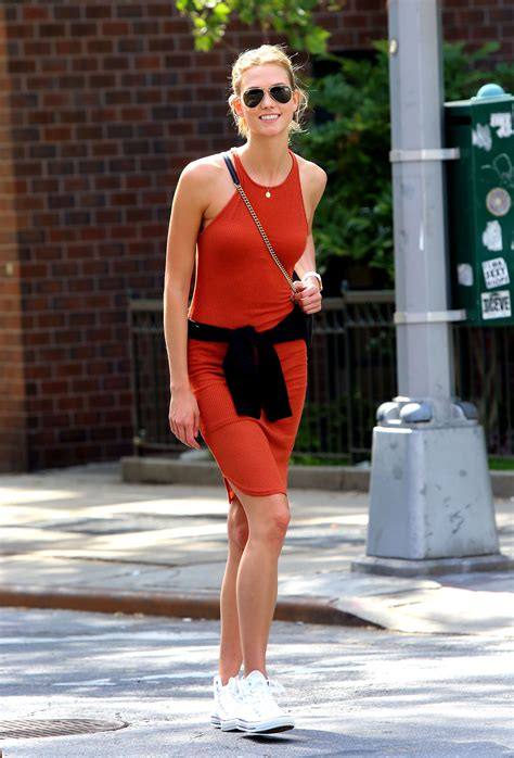 Karlie Kloss Makes Her Bodycon Knit Dress More Casj With