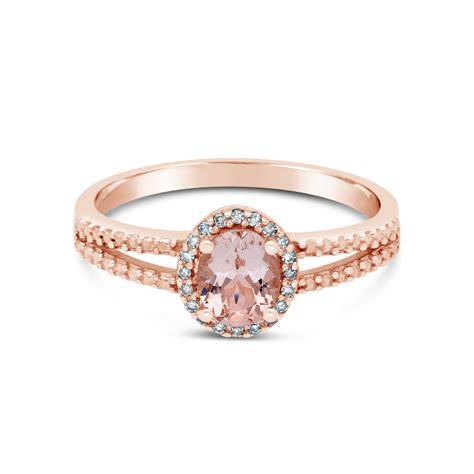 9ct Rose Gold Diamond & Morganite Ring  Nwj