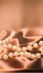 Pearls On A Silk Fabric Background Stock Photo - Download ...