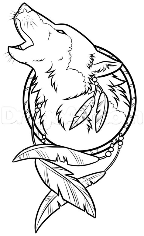 drawing a wolf dreamcatcher step 8 | Wood burning | Wolf dreamcatcher, Wolf tattoos, Leather carving