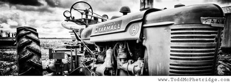 black  white antique tractor print  todd mcphetridge