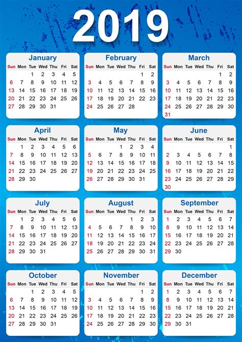 yearly calendar printable calendar template