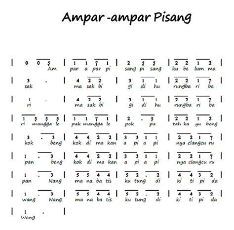notasi angka piano pianika ampar ampar pisang lagu daerah kalimantan selatan abee