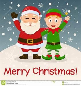 Santa Claus U0026 Christmas Elf On The Snow Stock Vector